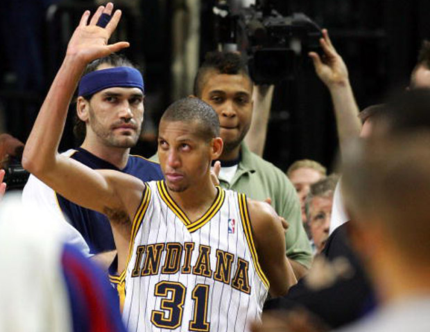 Reggie Miller  Over the course of his 18-year career, Miller played exclusively for the Indiana Pacers. During his time there, the precision shooter turned the troubled franchise around into a perennial contender, leading the team to the Eastern Conference finals six times. A three-point specialist and clutch player, Miller made a remarkable eight points in 8.9 seconds against the New York Knicks during the final seconds of Game 1 of the 1995 Eastern Conference semifinals, leading the Pacers to a stunning 107–105 victory. With 2,560 career three pointers on his record, Miller is one of only five players to shoot 50% or better from the field, 40% or better from three-point range, and 90% or better from the free throw line in a single season. While his stats sheet is golden, the precision shooting guard retired in 2005 without a ring.