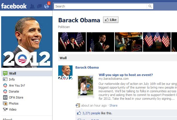 "In 2010, Time magazine put Obama at the top spot in its ""Social Influence Index,"" which measured appeal by analyzing Facebook and Twitter. With more than 21 million users who ""like"" his Facebook page, the president holds a prominent and powerful presence on a platform that has more than 750 million users."