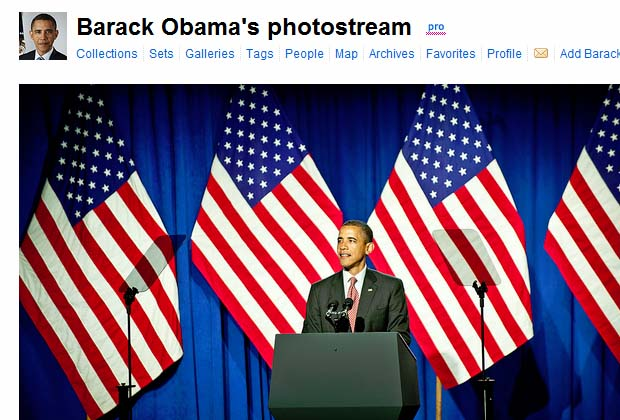 Obama's Flickr  provides citizens and media an up-to-the-minute, pictorial history of his campaign and presidency. The online photo management application is yet another tool of transparency, with everyday users constantly updating with the latest images taken by the people, for the people. Users can also comment and add their own captions, and many of the photos are shared via the president's other social media platforms.