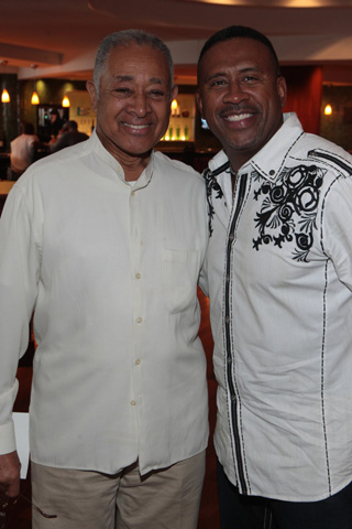 ABFF co-founder and UniWorld Group CEO Byron Lewis and radio personality Michael Baisden share a moment at the film festival. (Photo by Terrence Jennings)