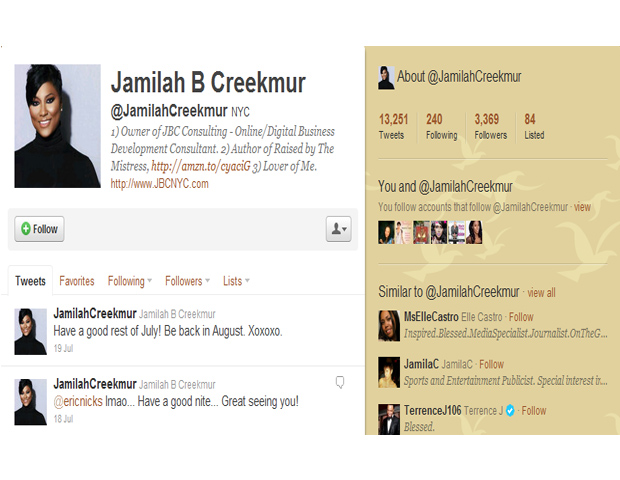 Jamilah B. Creekmur   @JamilahCreekmur   NYC    Jamilah B Creekmur, owner of JBC Consulting was once the hidden force behind AllHipHop.com. As COO, she helped to ink major deals and monetize the site. Now she provides Online/Digital Business Development advice to help other companies generate online revenue.
