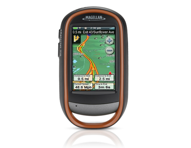 Magellan eXplorist 710   ($549.99; magellangps.com)  This touch-screen, handheld GPS is ideal for the outdoorsy types. It comes equipped with camera and voice notes capabilities. Outdoor enthusiast, particularly bikers and hikers can enjoy topographical US map viewing in 2D or 3D viewing angles, as well as global city and road maps. The maps have impeccable details, showing natural points in terrain, such as water features and urban/rural land use and rest stops where travelers can refuel.  The waterproof apparatus has up to 16 hours of battery life.
