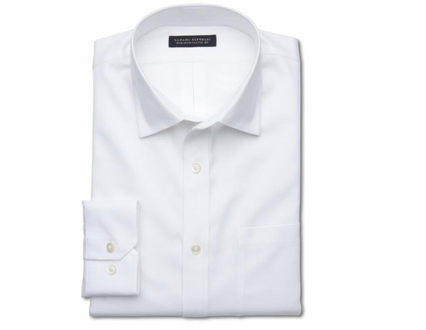 WHITE DRESS SHIRT:  Always pack a white dress shirt. The beauty of it is that it fits all occasions. You can dress it up with a suit and tie for a last minute meeting or roll up your sleeves and leave it untucked over some flat front chinos for a walk on the beach with that lovely lady you met in your hotel lobby. Try Banana Republic's classic fit non-iron shirt ($80) for a great fit that doesn't need to be ironed once you arrive. Just take it out of your luggage and go.