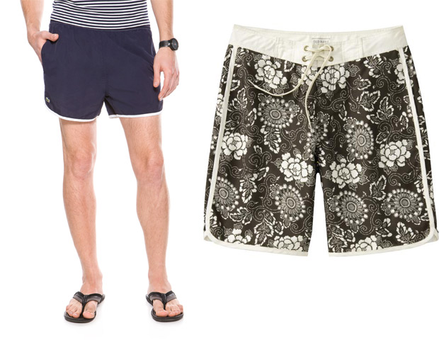 SWIM TRUNKS  Whether surfing or just laying out enjoying the view a stylish pair of trunks is always at the top of the list for beach day must-haves. You can either go old school with these Lacoste L!VE Retro swim short [left] ($57, sale price from $95) or a bit more active with the Old Navy Tiki Floral board shorts [right] ($8, sale price from $24.50).
