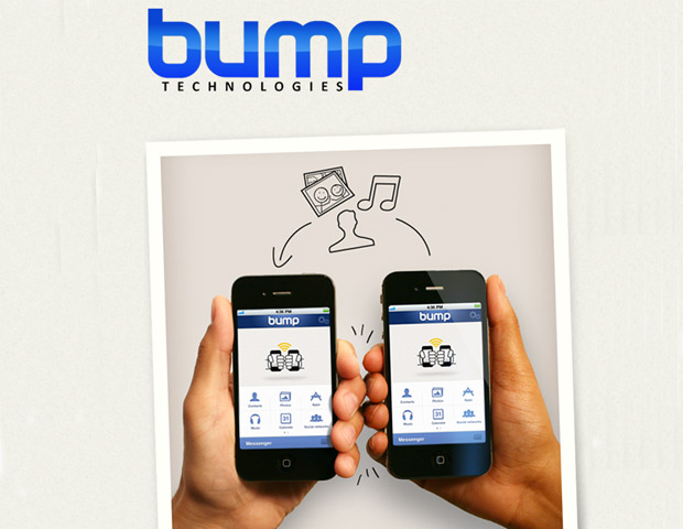 "Bump enables people to share contact information on an iPhone or Android phone. Users with the app downloaded can physically ""bump"" their devices together or their fists with their device in hand and their contact information is transferred instantly."