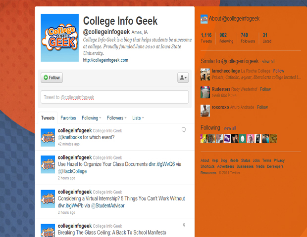 """College Info Geek (@collegeinfogeek)    This twitter feed makes the term geek seem abnormally cool. Suggesting on and off-campus resources, the latest tech tools, and op-ed based advice from current students, why wouldn't you follow? As College Info Geek points out, it's helping you be """"awesome at college."""" The great giveaways are an added bonus."""