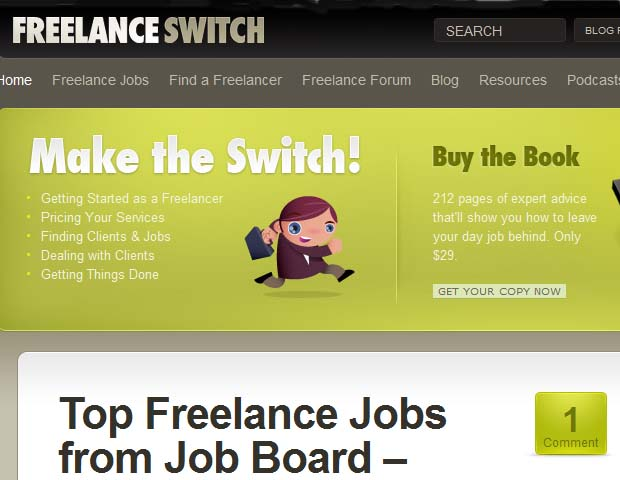 Freelance Switch: This site offers job posts tailored for job seekers in media and design fields (including photography, video editing, etc) but other freelancers can benefit from its blog, which offers money conserving tips as well as nifty facts on everyday workplace issues.