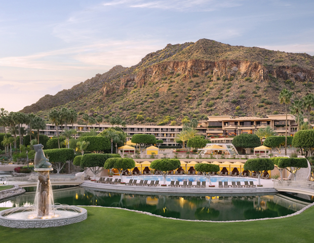 The Phoenician     This leading AAA Five Diamond resort and spa is nestled in Scottsdale, Arizona, bordered by the natural beauty of the Sonoran Desert and Camelback Mountain.  With three rigorous nine-hole golf courses designed by golf architects Ted Robinson, Sr. and Homer Flint on the premises, golfers will appreciate the challenge. Forgot your irons? There's an on-site golf shop if you need.  After an afternoon of gaming, stroll through The Phoenician Art Collection or two-acre Cactus Garden, opt for a game of tennis on its stellar court or just lay back and relax at the Centre for Well-Being spa. By the end of the day you'll have worked up an appetite, so drop into one of 10 restaurants and lounges for a bite to eat.