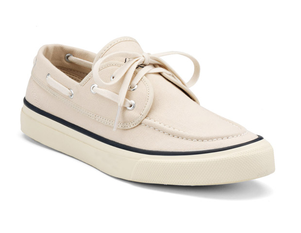 SUMMER SHOE  Sperry Top-Sider 75th Anniversary Seamate ($75) with their no slip grip bottom rubber soles are the perfect shoe to go from the deck to the BBQ.