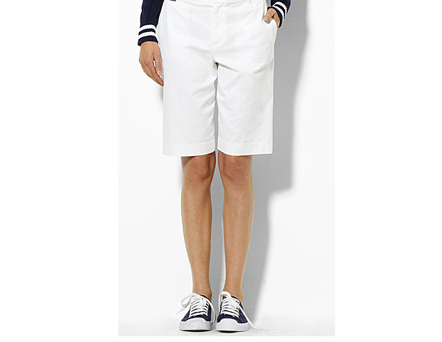SMOOTH LANDING: Lauren Walking Shorts ($64.50) The flat-front, solid-colored Bermuda short is a safe alternative to the usual plaid print that unfortunately gives the illusion of added pounds on the hips, thighs, and rear end.  Smooth the tummy and impress your associates by shying away from puckering pleats and lengths that are extremely short or way too long.  When in doubt, try the two-finger rule: Place your index and middle finger above your knee as a mark where your hemline should hit.