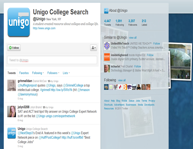 Unigo College Search (@Unigo)    After choosing to peruse this account, you may even decide to favorite a few tweets. It's well worth it! Experts and college students alike weigh in on some of college life's most pressing issues.