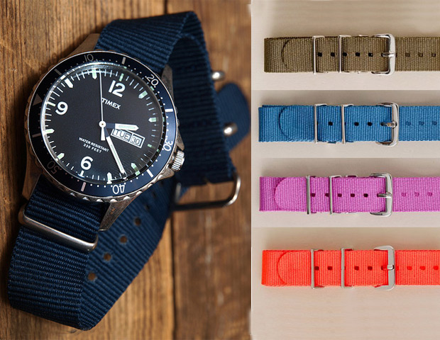 WATCH & BAND  J. Crew and Timex have collaborated again for their new Andros dive watch ($175). The watch is water resistant for up to 100 meters, with quartz analog movement, and comes with a stylish casual navy nylon band. Perfect for that Sunday sail or just having brunch at your favorite corner bistro. Shake it up a bit by investing in their optional nylon watchbands ($20) that come in both solid and striped, as well as an assortment of color options. It's as if you are wearing a new watch every day.