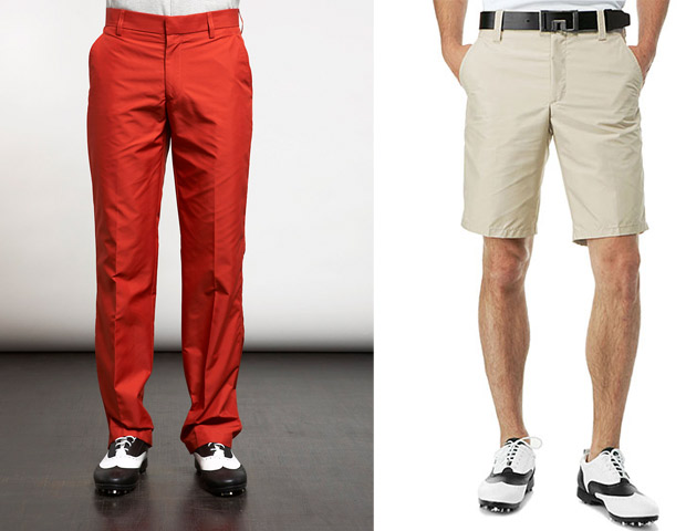 THE WATER RESISTANT PANTS  The J Lindeberg Troon regular Micro Twill long pant on the left ($102) and the True Micro Twill short on the right ($79) are both ideal for rainy days out, as they're water resistant, but are also a well cut slim pant to keep you looking good as the water runs off you.