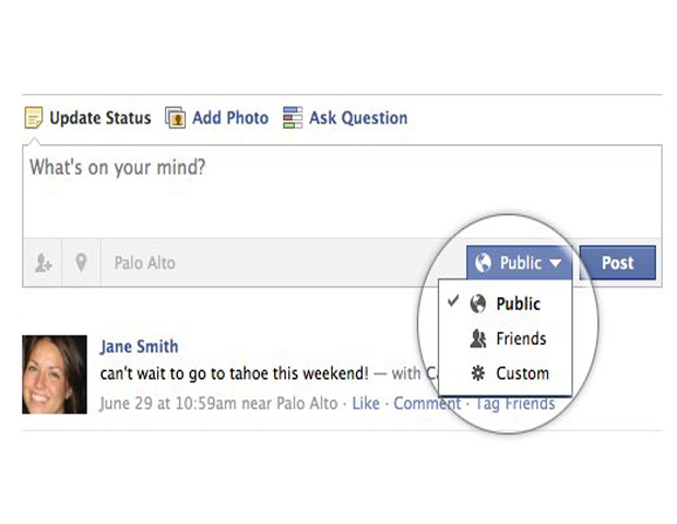 STATUS UPDATES: Users will be allowed to add a location to any status update without using a mobile device. Tagging will be enabled for people, places and things in their updates that allow them to share their experience in context with others. Facebook has renamed one of the groups users share content with from 'Everyone' to 'Public' to clarify who has access to the content.