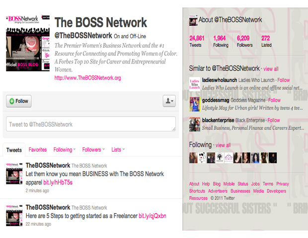 """The BOSS Network (@TheBOSSNetwork)    This female-centered networking organization focuses on revving up the entrepreneurial spirit in professional women. The BOSS Network—Bringing Out Successful Sisters—is one of the premiere resources for connecting and promoting women of color in business. Join in the conversation and see when the next networking event is by pressing """"Follow."""" It's never too early to start talking business."""
