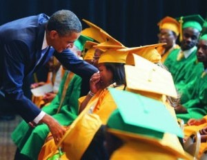 Barack Obama greeting graduates