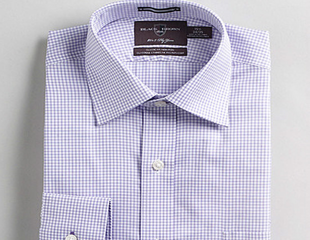 Black Brown 1826 Purple Plaid Dress Shirt ($69)