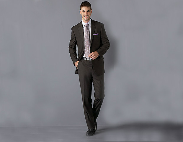 Black Brown 1826 2-Button Sharkskin Wool Suit ($495)