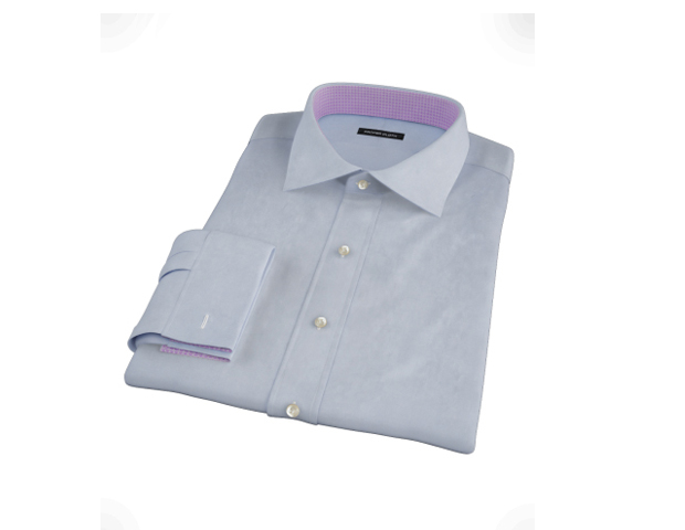 Shirt: Custom Canuck Light Blue PinPoint Shirt (Proper Cloth; $99)