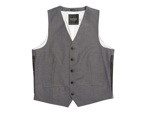 Vest: Grey High Break Waistcoat (Topman; $28)