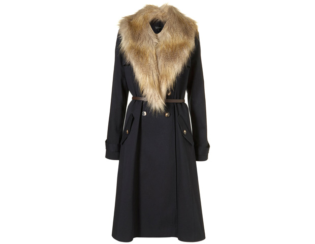 HER COAT: A nice swinging trench never goes out of style, and one that has a relaxed silhouette and belt flatters most body types. This Topshop coat ($137) also has an added timeless accent, a detachable faux fur collar, taking you from end of spring into fall and winter with pizazz.