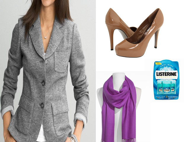Essential Extras: It's good to have a nice wool/silk blended scarf to add a punch of color and guard against the cold; a single-breasted jacket in a seasonal blend to keep at the office for impromptu formal meetings or dinner; breath fresheners; personal deodorizing wipes and a modest but chic nude pump that can match with almost any ensemble.