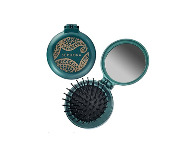 Perfect Match: Any 2-in-1 product is great when it comes to convenience and space saving, so for hair touch-ups, having a mini brush/mirror combo is a good look. Try Sephora's Pop-Up ($8) that comes in metallic colors. Also, keep a good pomade or gel on hand to use with your brush, to keep fly aways and edges at bay---whether you're natural or relaxed--- such as Organic Root Stimulator's Olive Oil Edge Control.