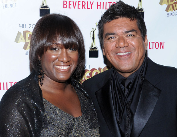 ADCOLOR Founder Tiffany R. Warren walks the red carpet with honoree George Lopez