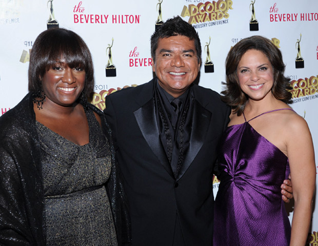 From left: Tiffany R. Warren, ADCOLOR Industry Coalition Founder & Omnicom's SVP/Chief Diversity Officer; alongside comedian/actor/philanthropist George Lopez and CNN's Soledad O'Brien