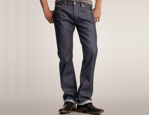 Gap 1969 selvage straight fit jeans (dark rigid rinse); $89