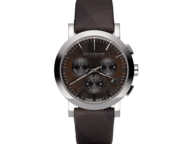 BURBERRY CHOCOLATE BROWN WATCH WITH SMOKE CHECK STRAP 