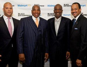 "Black Enterprise CEO Earl ""Butch"" Graves, Jr. (second from left) poses with a few of the day's panelists"