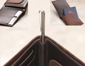 Clockwise, from top left: The Travel Wallet unfolds; revealing the passport sleeve; and the micro pen