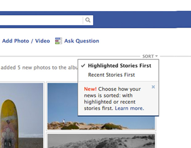 News Feed Sorting Options