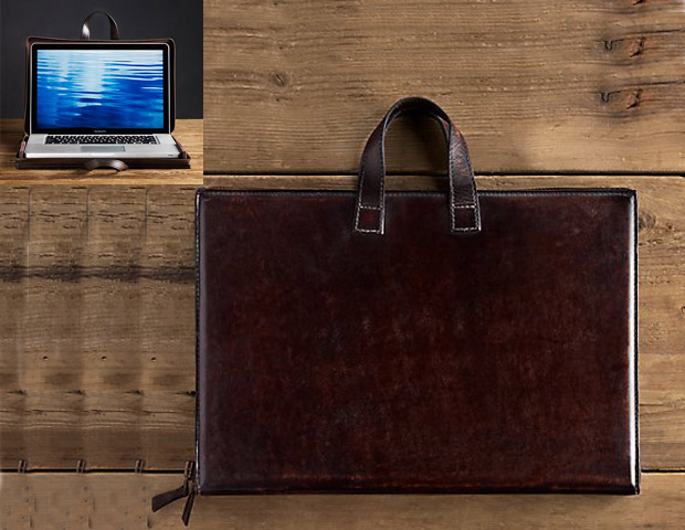 Artisan Chocolate Leather Computer Lap Desk & Tote, $199