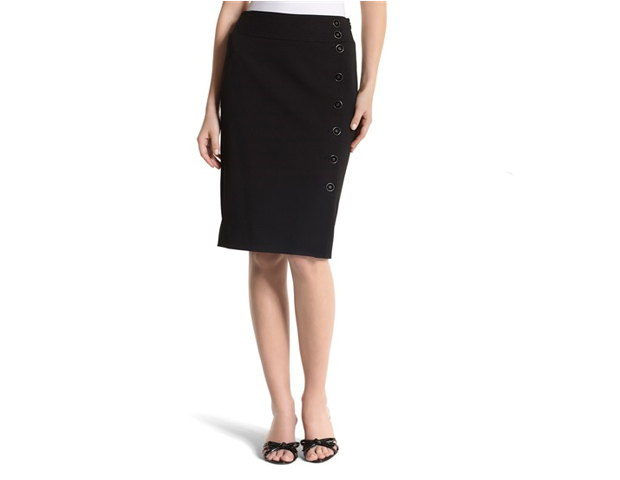 Perfect Pencil Skirt: With the proper fit, pair a perfect pencil skirt with a statement-making blouse, Taylor suggests. Try this button-detailed version by White House/Black Market ($88), another brand worn by the First Lady.