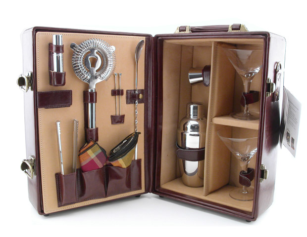 Kegwork Deluxe Mahogany Portable Travel Bar Set, $120  This is the perfect gift for the man that likes to bring the party with him. This functional bar set looks good in use and as a display piece. The set itself includes everything a traveling barista could need in a crunch: martini glasses, cotton napkins, cocktail picks, stainless steel shaker, strainer, jigger, tongs, atomizer spray bottle and a bar spoon.