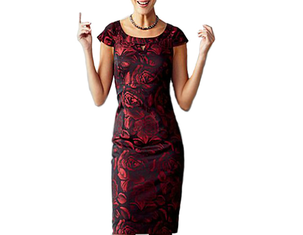 "Statement Dress: ""Never underestimate the sophistication of a great dress,"" Taylor says. Find necklines that work for you, and several clean cuts, and get one great silhouette in different colors. This Liz Claibourne Jacquard Rose Print dress ($70) has two of Obama's common style elements: a shift silhouette and a bold print."