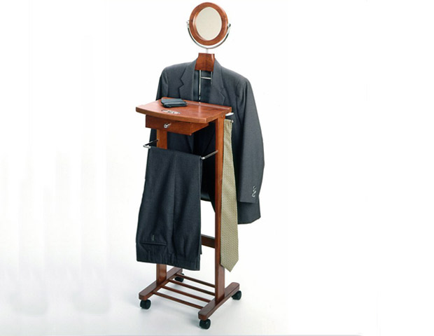 Winsome Rolling Valet Stand in Walnut Beachwood, $76