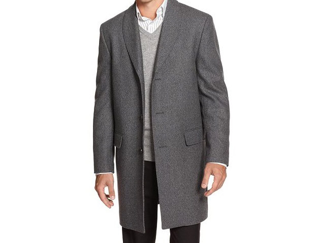 Alfani RED Overcoat Gray Shawl Collar Slim Fit, $180  The shawl collar may gives this topcoat a hipper look, but it still provides the wearer with a garment that says you're here to do business.