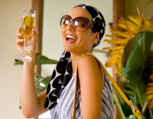 woman enjoying champagne