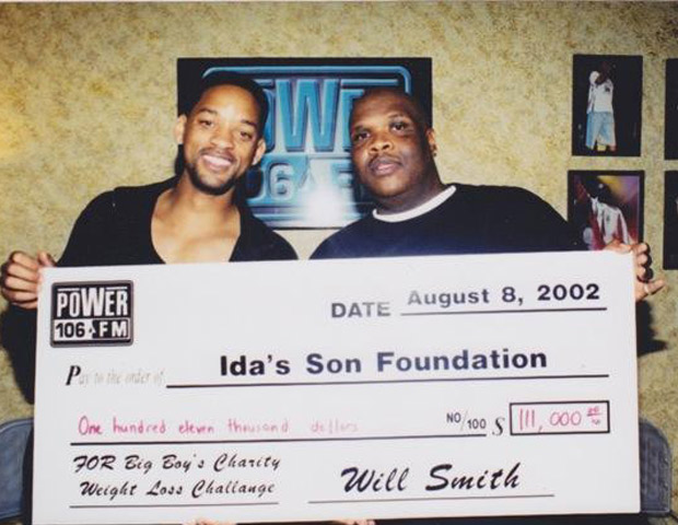 Concerned with Big Boy's health, longtime friend Will Smith challenged the hefty radio personality to lose weight. In the end Big Boy lost 111 lbs. and Smith donated $111,000 to his charity.