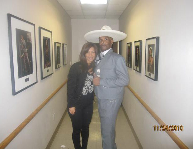 AFTER: Big Boy with colleague Veronica before preparing to perform for Mexican singer Vicente Fernández Gómez