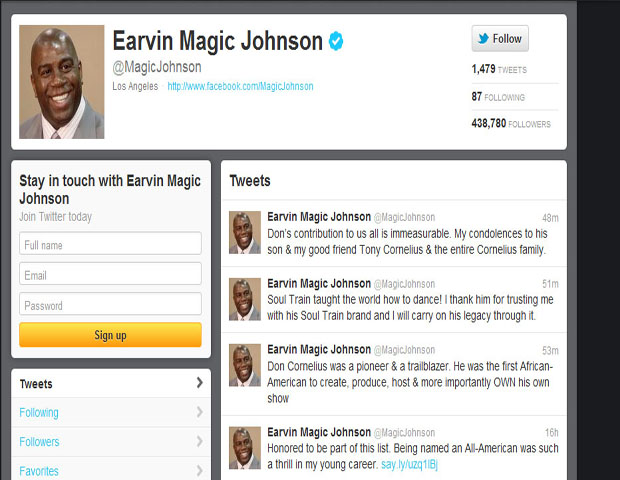"""Earvin """"Magic"""" Johnson, Former Lakers Star, Businessman and HIV/AIDS Advocate     @MagicJohnson     The NBA star turned business mogul sent his condolences to the Cornelius family, especially longtime friend Tony Cornelius.  Johnson notes the television icon's """"immeasurable"""" contribution to us all in his tweet."""