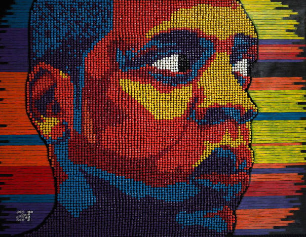 "Shawn ""Jay-Z"" Carter's thumbtack portrait"