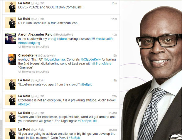 """Antonio """"L.A."""" Reid, Chairman and CEO of Epic Records and Judge on X Factor USA    @LA_Reid     L.A. Reid called Cornelius """"a true American icon,"""" in his reflective tweet.   The seasoned music executive followed that up with a variation of the television host's signature saying, """"Love, Peace and Soul."""""""