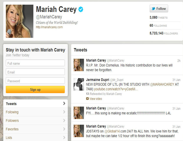 """Mariah Carey, Award-Winning Singer-Songwriter     @MariahCarey     """"R.I.P. Mr. Don Cornelius,"""" Mariah Carey expressed to her more than 5 million followers. """"His historic contribution to our lives will never be forgotten."""""""