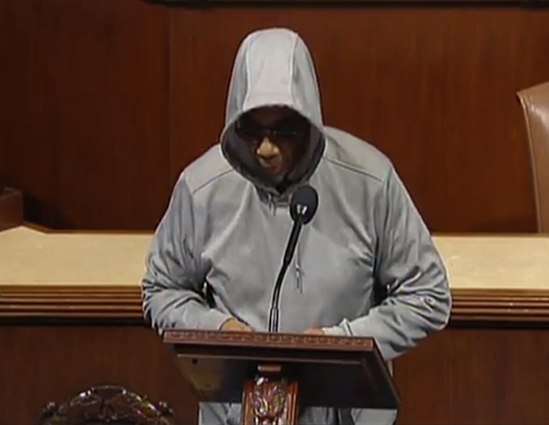 8. Rep. Bobby Rush (D-Ill.)  was asked to cease his address and leave the House floor for  exposing a hoodie under his suit in an act of solidarity in the outrage about Martin's death. The act was deemed against rules, as hoods or hats are prohibited attire.  (Reports have stated the dress code rules had not previously been strictly enforced, especially for women, in reference to head gear.)    Rush is a 10-term Democratic congressman from Chicago's South Side. According to reports, his own son was killed before he  turned 30 in a gun homicide.)