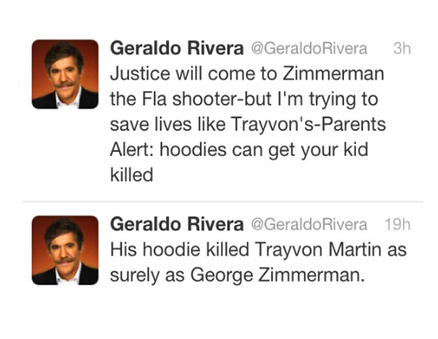 "lated the popular sweatshirt style to ""thug"" attire, stating on Fox News, ""I think the hoodie is as much responsible for Trayvon Martin's death as George Zimmerman was."" (He has since apologized for ""the language,"" adding he doesn't apologize for the ""substance"" of his advice. ""I was trying to save lives."")"