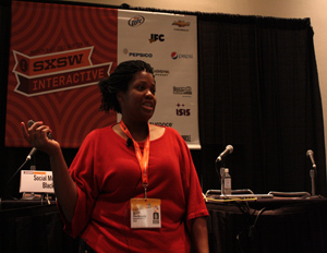 "Blogging While Brown founder Gina McCauley discusses brand awareness and digital content monetization at her panel ""Social Media Sharecropping: Black Tech Adoption"" at SXSW 2012 (Image: Winston Ford)"